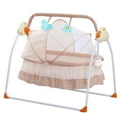 SANPLO Baby Swing Bassinet Cradle Electric Rocking Swings Bed Infants Automatic Baby Crib Boy (Y ...