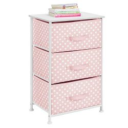 mDesign 3-Drawer Vertical Dresser Storage Tower – Sturdy Steel Frame, Wood Top and Easy Pu ...