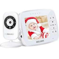 Baby Monitor, Angelababy 3.5″ HD Display Wireless Video Baby Monitor with Camera and Audio ...