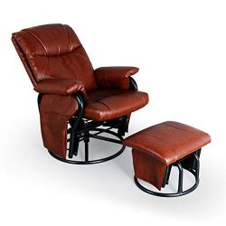 AODAILIHB Glider Chairs Rocking Chair with Ottoman 360° Swivel Chair PU Leather Upholstered Armc ...