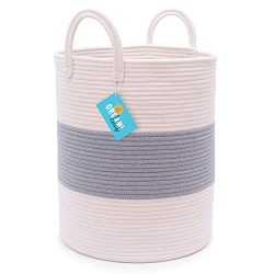 OrganiHaus Large Cotton Rope Basket in Grey and Off White | Narrow Shaped 15×18 Storage Bas ...