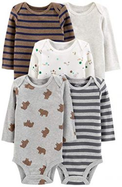 Simple Joys by Carter's Boys' 5-Pack Long-Sleeve Bodysuit, Bears/Animals Green/Strip ...