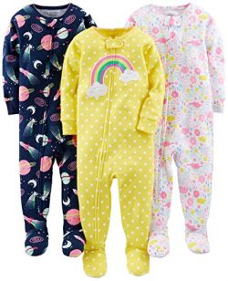 Simple Joys by Carter's Baby Girls' 3-Pack Snug-Fit Footed Cotton Pajamas, Dinosaur, ...