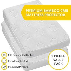 2-Pack Ultra Soft Crib Mattress Protector by Dellabella | 100% Hypoallergenic Bamboo. Stylish an ...