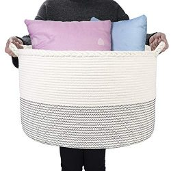 HOMSHOO XXXLarge Cotton Rope Basket – 21.7 x 13.8 inches Woven Laundry Baskets with Handle ...