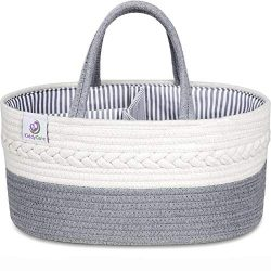 KiddyCare Baby Diaper Caddy Organizer – Stylish Rope Nursery Storage Bin – 100% Cott ...