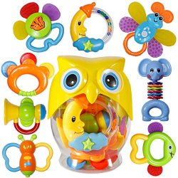 Baby Rattle Sets Teether Rattles Toys, 8pcs Babies Grab Shaker and Spin Rattle Toy Early Educati ...