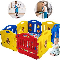Baby Playpen for Babies Baby Playard Infants Toddler 8 Panels Safety Kids Play Pens Indoor Baby  ...