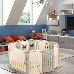 Moromuu Baby Play Yard, 14 Panel Playpen, Kids Safety Activity Centre with Lock Door, Children&# ...