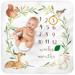 Bubzi Co Baby Monthly Milestone Blanket | Baby Girl Gifts & Baby Boy Gifts | Watch Me Grow W ...