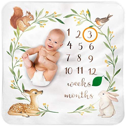 Bubzi Co Baby Monthly Milestone Blanket | Baby Girl Gifts & Baby Boy Gifts | Watch Me Grow W ...