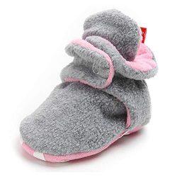 TIMATEGO Newborn Baby Boys Girls Cozy Fleece Booties with Grippers Stay On Slipper Socks Infant  ...