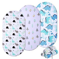 Momcozy Universal Bassinet Sheets 3 Pack, 100% Breathable Cotton Sheet Set for Baby Boy, Fit for ...