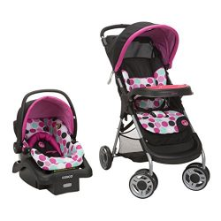 Disney Baby Minnie Mouse Lift & Stroll Plus Travel System with Light 'N Comfy Infant C ...