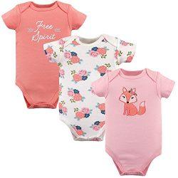 Hudson Baby Unisex Baby Cotton Bodysuits, Free Spirit 3 Pack, 3-6 Months (6M)