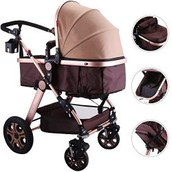 Happybuy Baby Stroller Portable Baby Carriage Stroller Foldable Luxury Baby Stroller Adjustable  ...