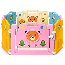Costzon Baby Playpen, Kids 8 PE Panel, Cute Bear Pattern Safety Yard Activity Center, Colorful C ...