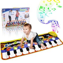 RenFox Kids Musical Mats, Music Piano Keyboard Dance Floor Mat Carpet Animal Blanket Touch Playm ...