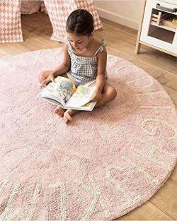 FasterS ABC Alphabet Round Baby Play Game Mat Crawling Mat Sleeping Pad Sitting Cushion Hand-Wov ...