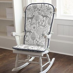 Carousel Designs Navy and Gray Woodland Rocking Chair Pad