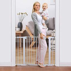 Cumbor 40.6″ Auto Close Safety Baby Gate, Durable Extra Wide Child Gate for Stairs,Doorway ...