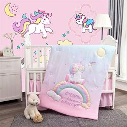 La Premura Unicorn Baby Nursery Crib Bedding Set for Girls – Baby Unicorn & Rainbows 3 ...