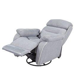 REMSOFT Linen Fabric Nursery Rocker Glider Chairs/Swivel Recliner Rocking Chair Grey Lounger Fab ...
