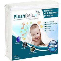 PlushDeluxe Mini Crib Mattress Protector 100% Waterproof, Hypoallergenic, Vinyl Free – Bam ...