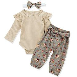 Newborn Baby Girls Clothes Floral Romper+ Floral Long Pant +Floral Headband 3pcs Outfit 0-3 Months