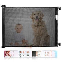 Babepai Retractable Baby Gate Wide Safety Mesh Gate Easy to Roll and Latch for Stairways Doorway ...
