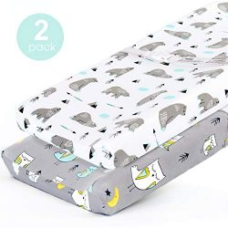 Stretchy-Changing-Pad-Covers-BROLEX Carddle Sheet Set for Baby Boys Girls,2 Pack Jersey Knit,Owl ...