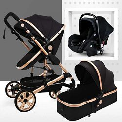 Travel System Infant Carriage Portable Baby Stroller 3 in 1 Infant Pram with Shock-Resistant Pus ...