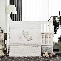 La Premura Baby Elephants Nursery Crib Bedding Sets – Gray Elephants & Puppy 3 Piece S ...