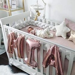 MOMAID Baby Braided Crib Bumper Knotted Plush Soft Nursery Toddler Crib Bedding Sets Decor Handm ...