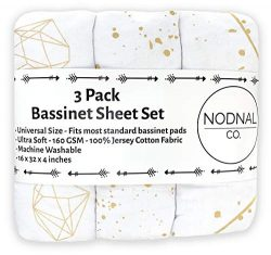 NODNAL CO. Gold Shimmery Bassinet Fitted Sheet Set 3 Pack 100% Jersey Cotton for Baby Girl ̵ ...