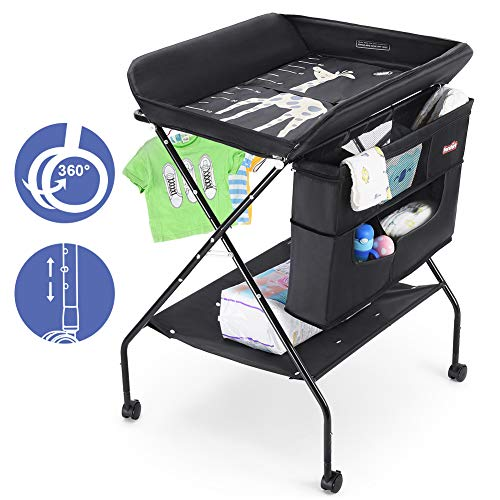 Baby Changing Table with Wheels, FORSTART Adjustable Height Folding Diaper Station Portable Mobi ...