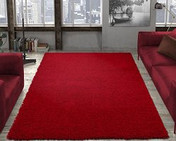 Ottomanson shag collection Area Rug, 6'7″ x 9'3″, Red