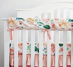 Sahaler Crib Rail Cover, Floral Crib Protector from Chewing, Crib Rail Teething Guard, Crib Wrap ...