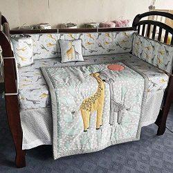 8 Piece 100% Cotton Giraffe Crib Bedding Set,Unisex Baby Nursery Cradle Bedding Set with 4 Bumpe ...