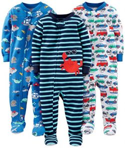 Simple Joys by Carter's Baby Boys' 3-Pack Snug-Fit Footed Cotton Pajamas, Crab/Sea C ...