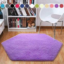 Junovo Ultra Soft Rug for Nursery Children Room Baby Room Dormitory Hexagonal Carpet for Playhou ...