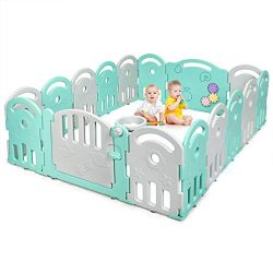 Costzon Baby Playpen, 16-Panel Kids Safety Yard Activity Center Playard with Safety Lock & E ...