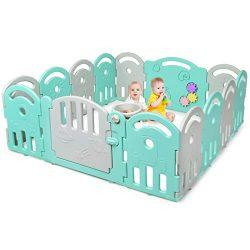 Costzon Baby Playpen, 14-Panel Kids Safety Yard Activity Center Playard with Safety Lock & E ...