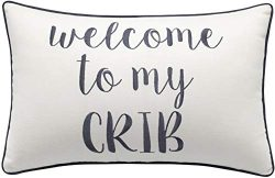 Rudransha Pillowcases Embroidered Welcome to My Crib Throw Pillow Home Decor Present New Baby Gi ...
