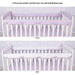 CaSaJa 4-Piece Soft Reversible Crib Rail Cover Set for Entire Crib Rails, Safe Breathable Padded ...