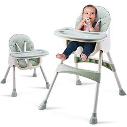 Baby High Chair, Adjustable Feeding Dining Booster Table Seat Highchair with Non-Slip Feet for B ...