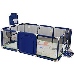 Play yard YXX- Large Toddler Babys Playpen for Twin, Foldable Safety with Mat & Basketball H ...