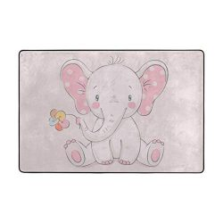 STAYTOP Nursery Style Pink Elephant and Flower, Kids Baby Room and Playroom Carpet Childrens Flo ...