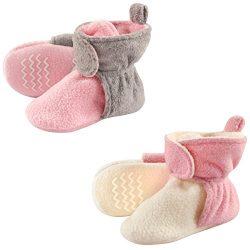 Hudson Baby Unisex Baby Cozy Fleece Booties, Lt Pink Cream, 6-12 Months