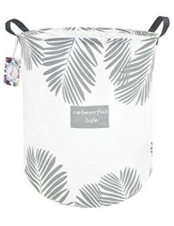 TIBAOLOVER 19.7″ Large Sized Waterproof Foldable Canvas Laundry Hamper Bucket with Handles ...